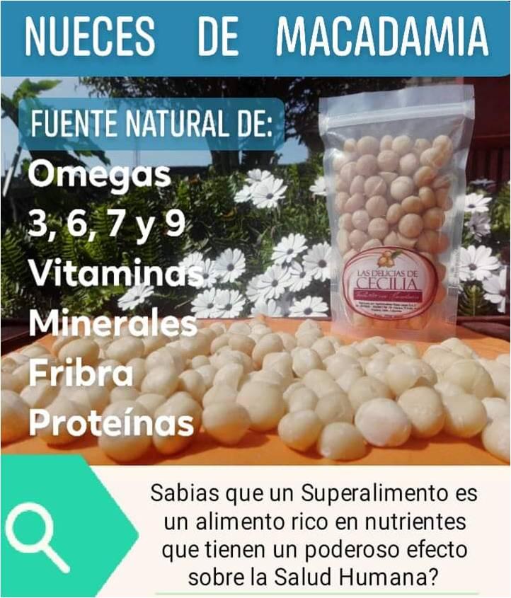 La Macadamia es un Súper Alimento, contiene Omegas 3,6,7 y 9, ademas de Vitaminas y Minerales